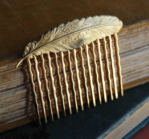Gold Feather Hair Comb_Etsy_The River is Everywhere